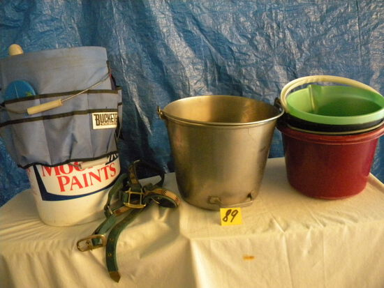 Aluminum Pail; Halters, Sprays, Brushes And Much More.