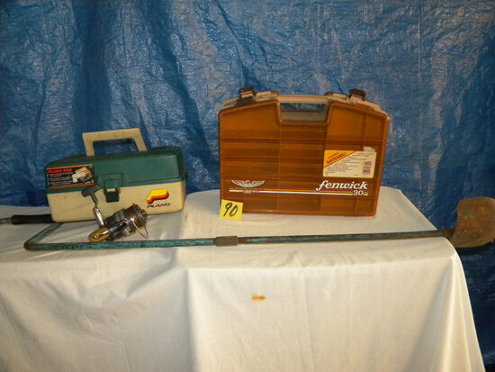 Pair Of Tackle Boxes (empty); St Croix Spinning Reel; Ice Auger.