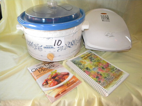 George Foreman Grill; Rival Crockpot; Pair Of Cookbooks.