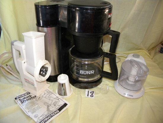 Bunn Coffee Pot, New; Black And Decker Vegetable; Fruit- Salad Chopper/shoo