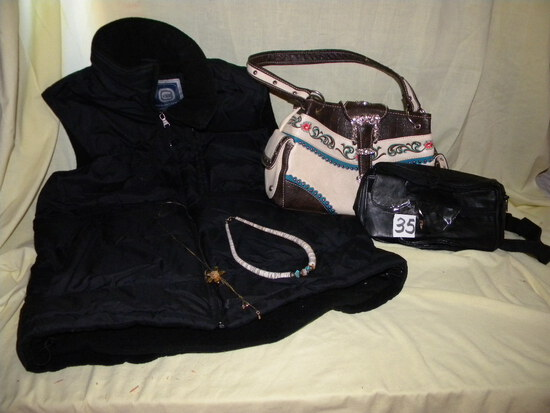 Black quilted Med.Vest Western Purse; Black Back Pack; Gold And Shell Necklaces Etc.