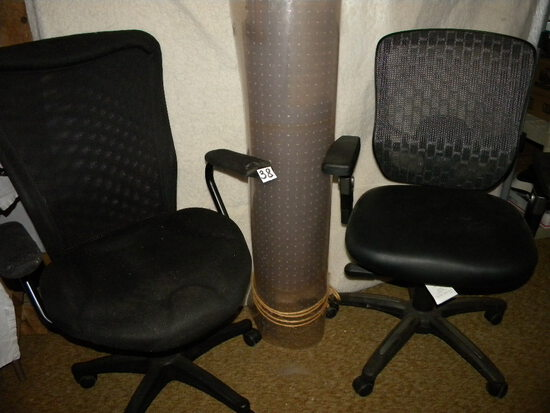 Pair Adjustable Office Chairs, Black; 4 X 8' Office Mat.