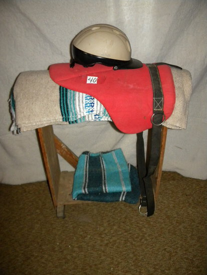 Horse=Saddle Stand, On Wheels; Two Saddle Blankets, Pad And Helmet.
