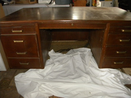 "Mahogany Wood Office Desk, 28""h X 65""w X 36""d."