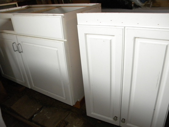 White Kitchen Base Cupboards, 2 Sections.