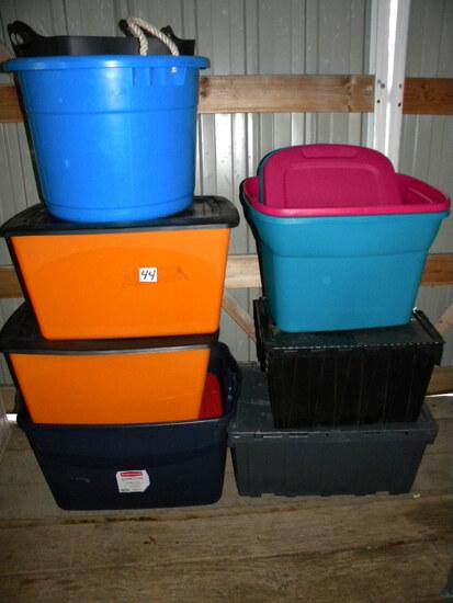 Eight Totes; Blue Tub; Black Poly Basket.