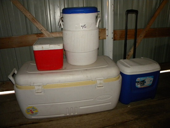 Igloo Coolers, One W/wheels; Water Cooler; Igloo Lunch Cooler.