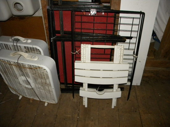 Pair Of Square Floor Fans;4 Shelf Shelving Unit.