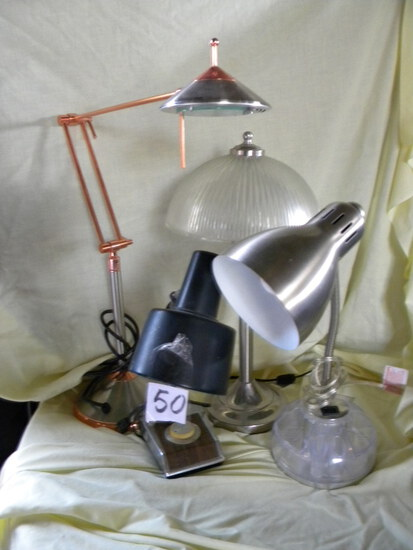5 lamps:Heavy Based Extension Desk Lamp; Stainless Based Desk Lamp; Glass Based Des