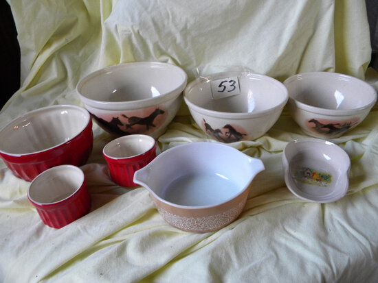 Abode Red Bowls; (3) Montana Bowls; Pyrex ; Spoon Rest