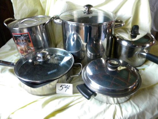 Four Piece Stainless Pans W/lids; Weaver Non-stick Pans W/lids.