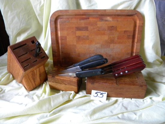 Wood Pieces= (3) Knife Holders W/knives' Cutting Board.