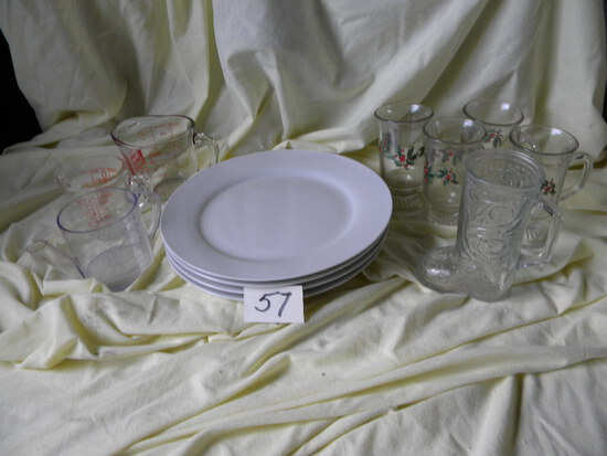 "Pair Of Measure Cups; 4 Encore 12"" Dinner Plates; 4 Christmas Water Glasses"