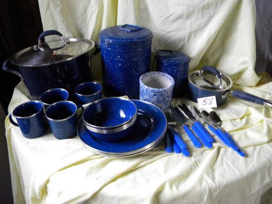 Set Of 4 Stainless Dinner Ware; 4 Metal Coffee Cups; 1 Gal Granite Pan; Can
