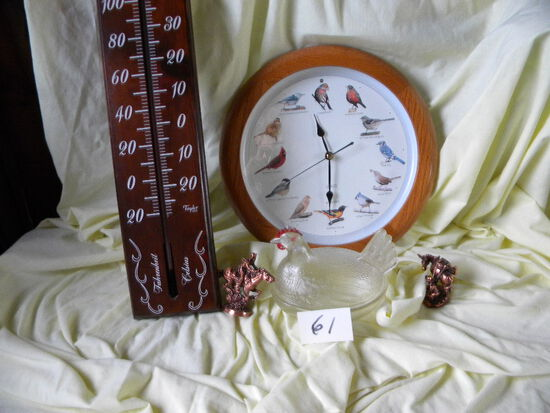 Outdoor Thermometer; Bird Clocks; Cowboy Statutes; Hen And Nest.