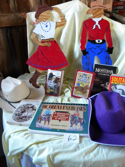 """Pair Of Western Hats; Derby Cap; Pair Of Cowboy And Cowgirl Cut-outs 18"""", 3"""