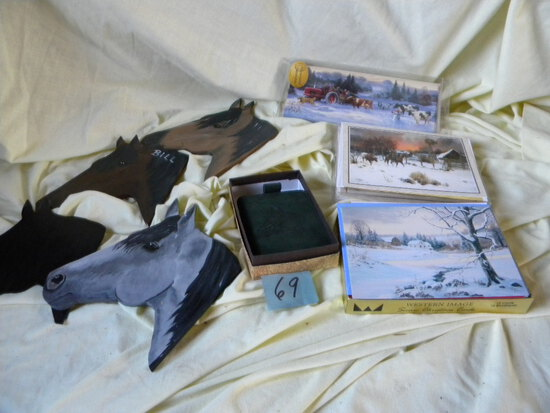 New Leather Bill Fold W/horse Head; Cowboy Christmas Cards; Box Of Leather Clea