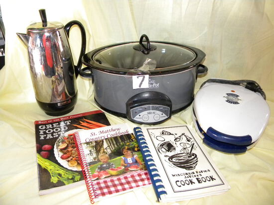 Proctor Salix Morning Waffle Iron; Rival Crock Pot, New; Electric Coffee Po