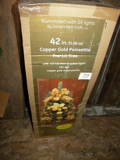 """Poinsettia , Metal Plated, 42"""" , In Original Box."""