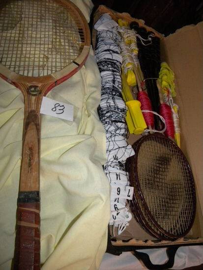 Badminton Set, W/case; Tennis Racket.