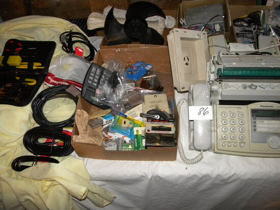 4 Boxes= Adding Machine; Panasonic Fax Machine, Boat Propellor; Rope; Small