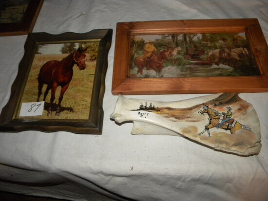 "Bone Painting ""cowboy On The Range"" By Becky Zimmerman"", Painting= ""cowboys"