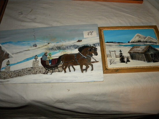 "Painting= ""western Farm Shed"", 9.5"" X 11""; ""sleigh And Old Bridge"", No Fram"