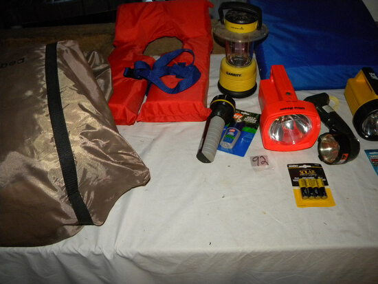 Camping=Insta Bed; Flask; Gas Light; Pair Of Life Jackets.