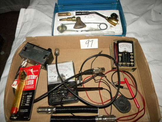 Gas Torch Kit With Case; Dc Electrical Tester; 12 V. Battery Tester.