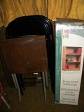 Orion 3 Shelf Book Case; Pair Of Metal Folding Chairs; Folding Coffee Table