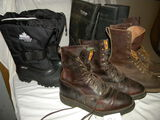 Justin Leather High-top Shoes, Size 10 1/2b; Bibram-high Leather Wo Rk Boot