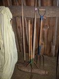 Tools=Maul; Scraper; Weed Cutter; Manure Fork; Rake.