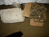 Pair Of Barn Harness Hooks; Misc. Horse Harness; Pair Of Large Canvas.