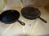 Griswold #9 Fry Pan W/lid; Metal # 8 Fry Pan.