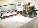Nuwave Cast Iron Grill; Electric Knife; Double Boiler.