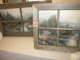 Art=Print, Window Scene, Barn Lumber Frame, 18