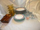 Furio Plates= 8 Large; 4 Desert; 5 Glass Cups W/water Etching; 4 Amber Baki
