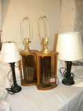 Pair Of Wooden Based Lamps, 14