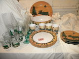 Moose Scene= Evolution= (4) Plates, And Cups; Large Mixing Bowl; Round Serv