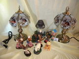 Collectibles=Six Miniature Eagle Statutes; Pair Of Touchtone Lamps W/outdoor Life Shades