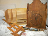 Wood= Desk Shelving Unit; Wall Clock; Easel; Rolling Pin Painted Scene By B