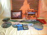 Art=Hand Painted Hand Saw; 4 Scenery Painted Circular Saw Blades; Pair Of Land