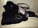 Black quilted Med.Vest Western Purse; Black Back Pack; Gold And Shell Necklaces Etc.