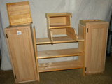 Cabinets=Pair Of Oak Finished Upper Single Kitchen Cabinets Sections; Letter And Key