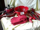 Wear Ever Pans; Square Skillets; Red Kitchen Utensils, Colander And More.