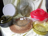 Pizza Stone Ware; Pie Carrier; 3 Glass Pie Plates; Pie Keeper; Form Pan.