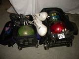 Pair Of Bowling Balls With Bags, Men And Women; Bowling Ball W/o Bag.
