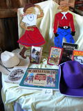 Pair Of Western Hats; Derby Cap; Pair Of Cowboy And Cowgirl Cut-outs 18