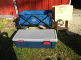 Timber Ridge Folding Wa4 Folding Wood Tea Tables; Storage Chest.