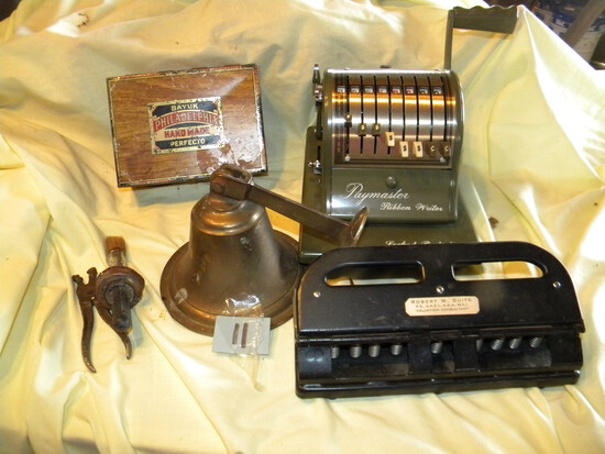Slide Viewer; Philadelphia Cigar Tin; Paymaster Check Maker; Bell For Outsi